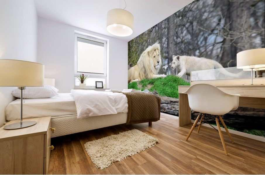 White Lion with Baby Mural print