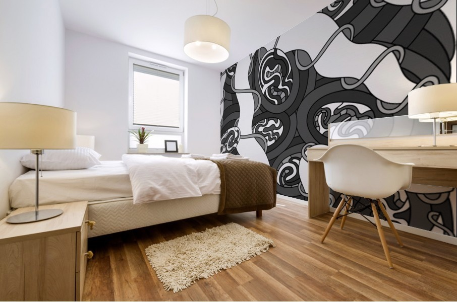 Wandering Abstract Line Art 04: Grayscale Mural print