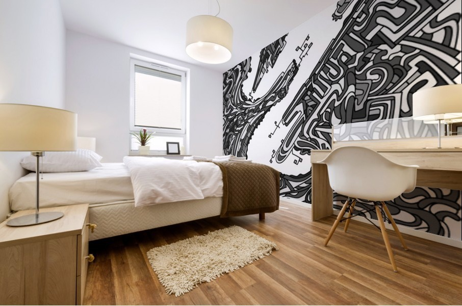 Wandering Abstract Line Art 05: Grayscale Mural print