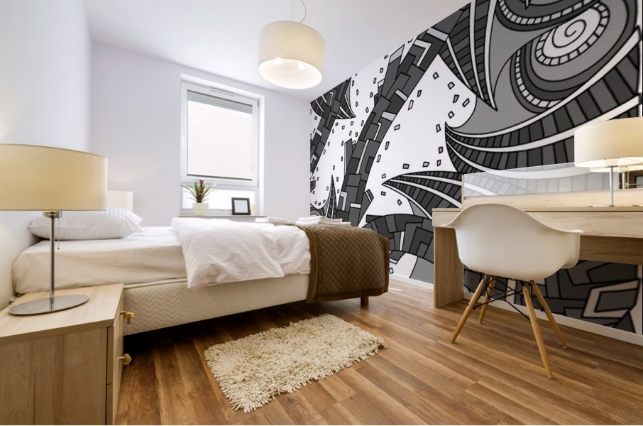 Wandering Abstract Line Art 10: Grayscale Mural print