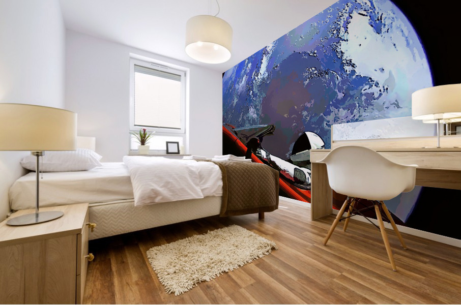 StarMan in Tesla Above Planet Earth Mural print