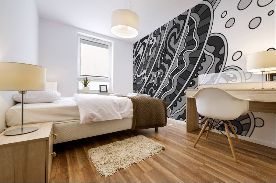 Wandering Abstract Line Art 11: Grayscale Mural print
