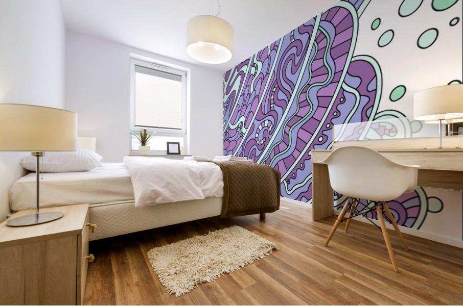 Wandering Abstract Line Art 11: Purple Mural print