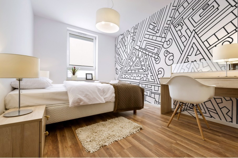 Wandering Abstract Line Art 15: Black & White Mural print