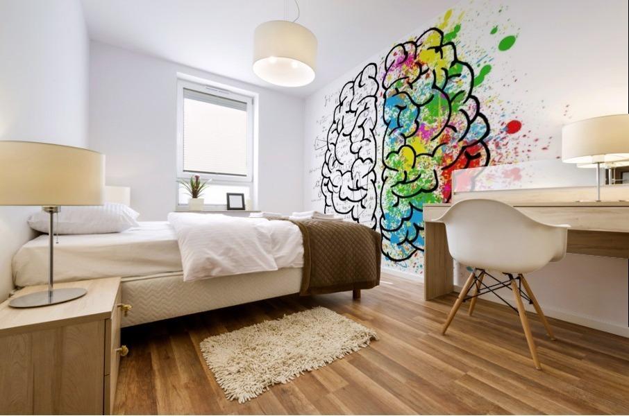 brain mind psychology idea drawing Mural print