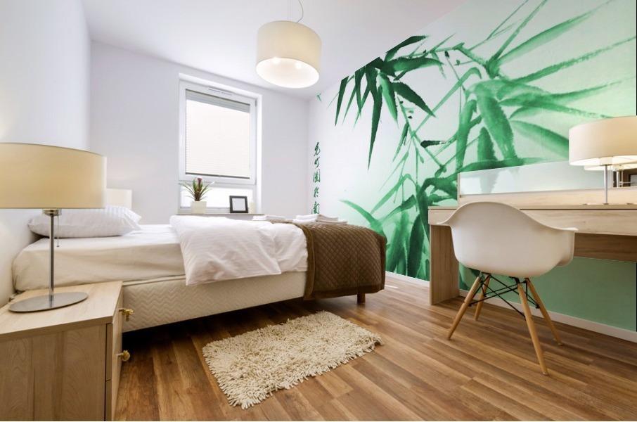 Green Bamboo Twig Mural print