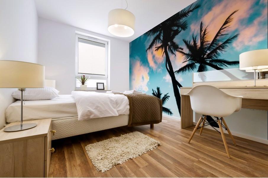 Palm Tree Sunrise Mural print