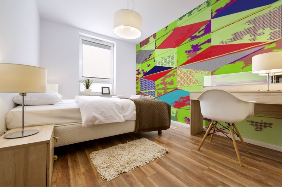 patchwork cubes by dePace Mural print