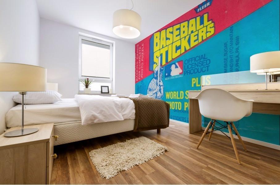 vintage fleer mlb baseball sticker package art design reproduction art Mural print