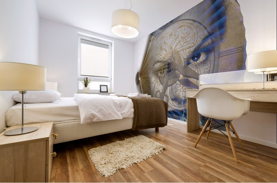 Face with clock and fan Mural print