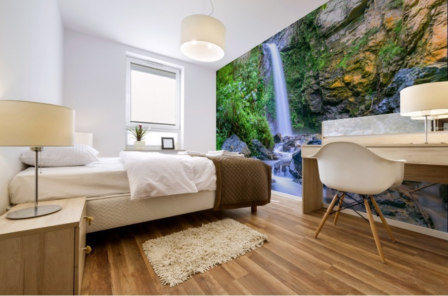 Waterfall in the forest Mural print