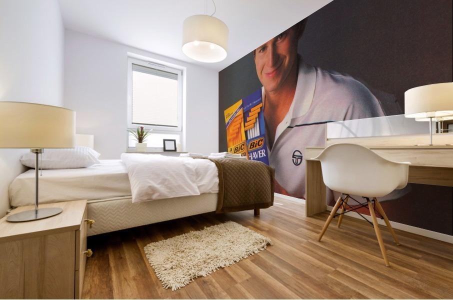 row one vintage sports ads retro bic shaver john mcenroe tennis poster Mural print