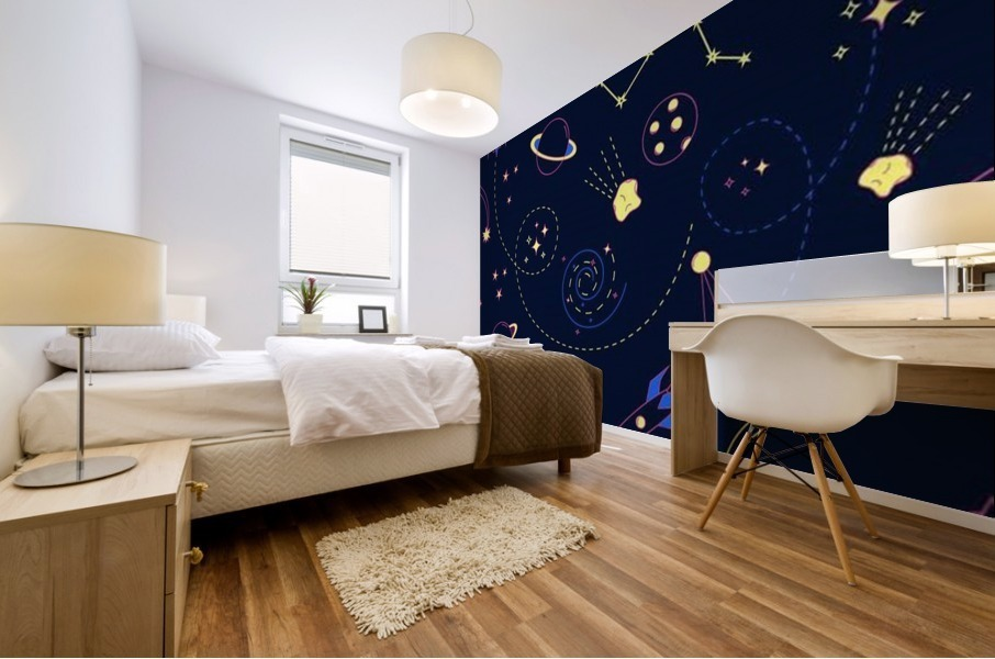 Cartoon space seamless pattern vectors Mural print