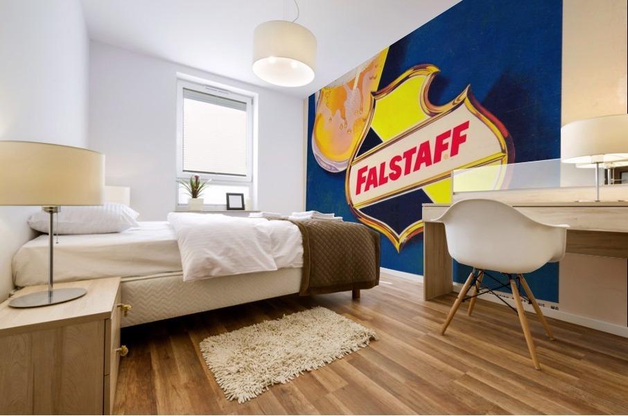 vintage falstaff beer ad poster la rams retro football metal sign Mural print