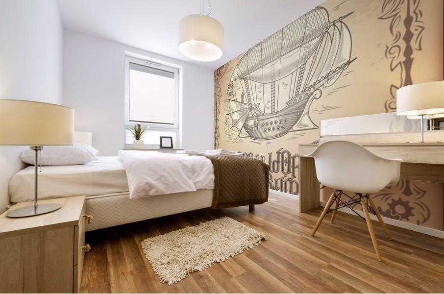 Vector steampunk poster illustration fantastic wooden flying ship Mural print