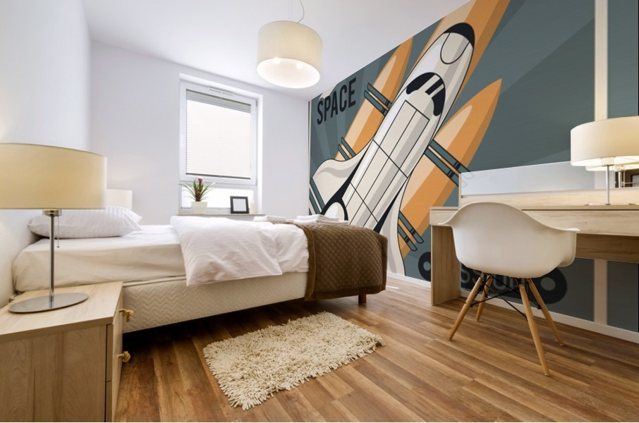 Life space poster with mars rocket rockets vintage Mural print