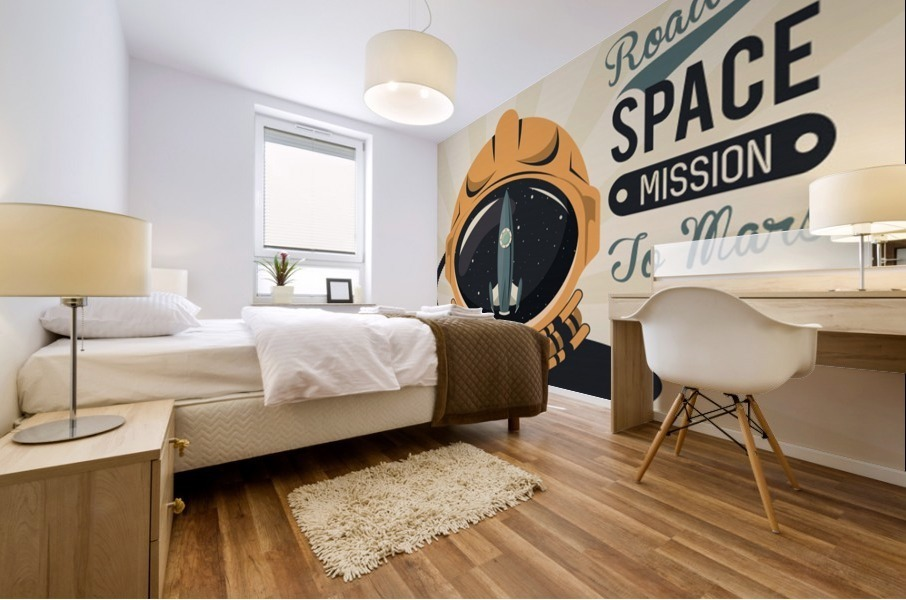 Life space vintage poster with set scenes Mural print