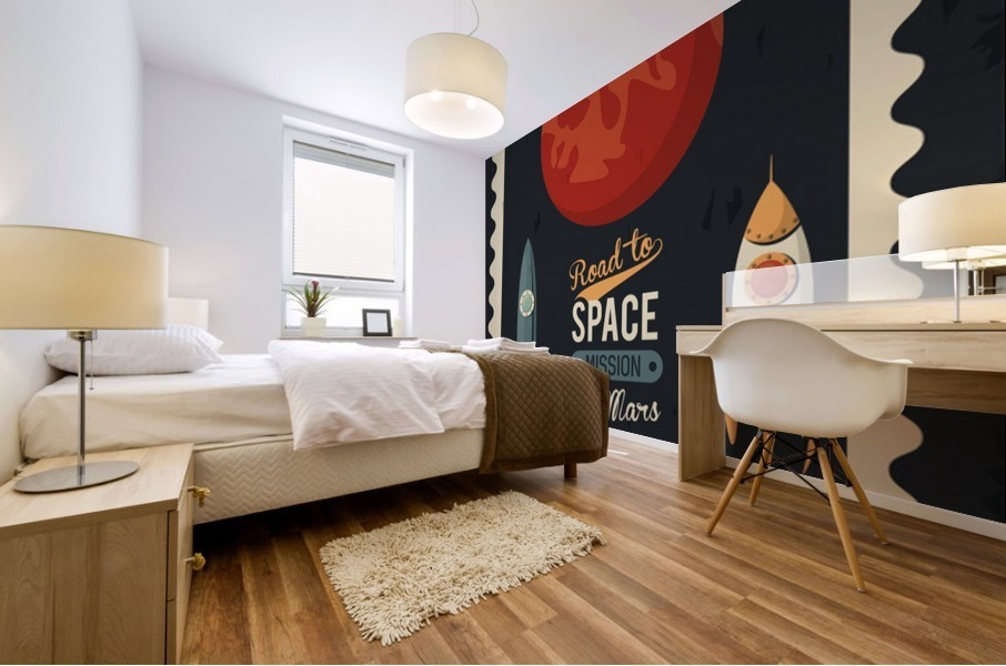 Life space poster with mars rocket rockets Mural print