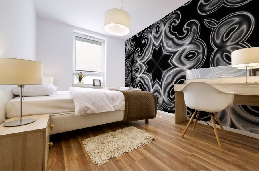 Classic Fractal in black and white Mural print