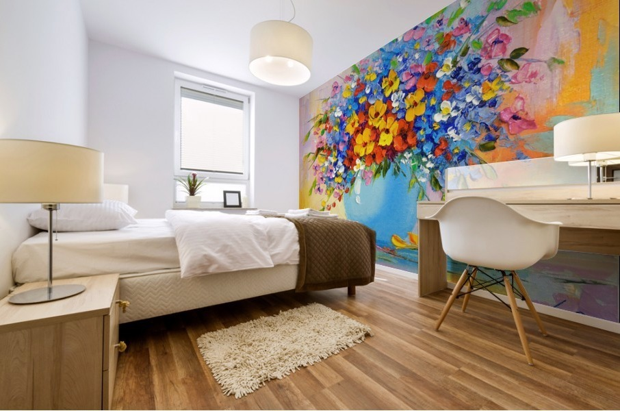 A bouquet of bright flowers Mural print