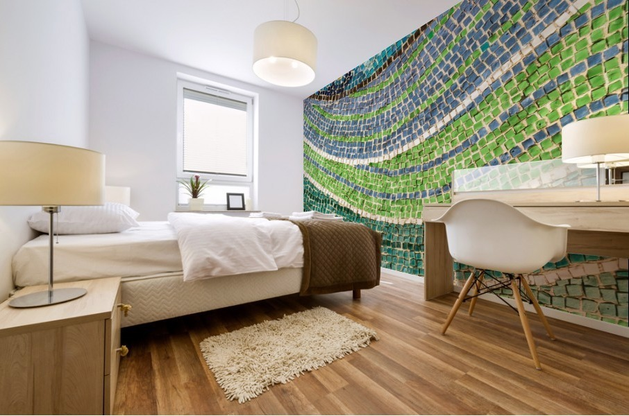 Tessellated Abstracts and Impressions - Free Form Meadows and Flowerbeds in Green and Blue Mural print
