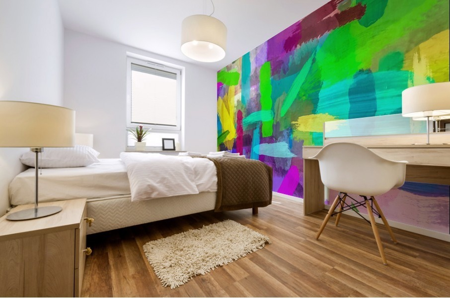 splash brush painting texture abstract background in green blue pink purple Mural print
