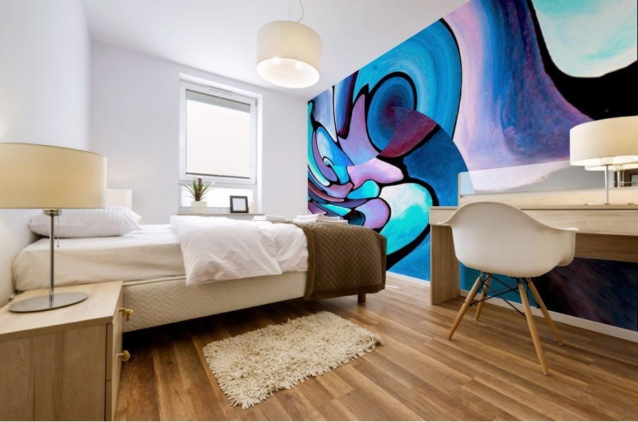 Twisted Splash of Blue Shapes  Mural print