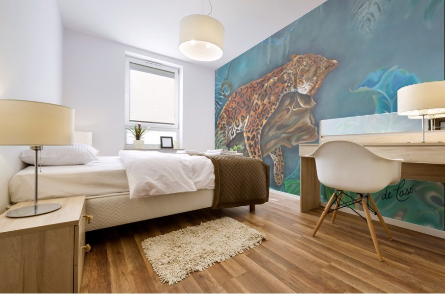 Gorgeous leopard resting in the jungle during the day Mural print