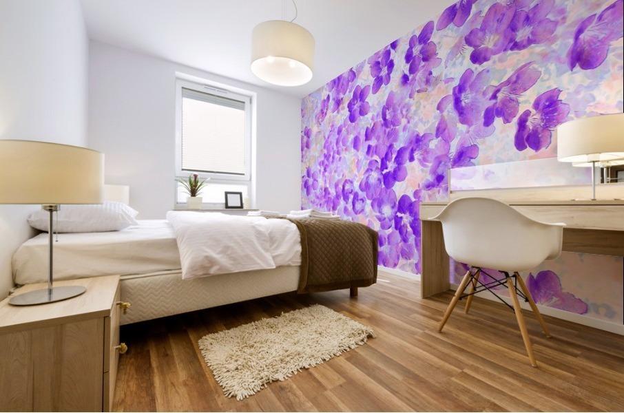 Purple Spring Flowers Mural print