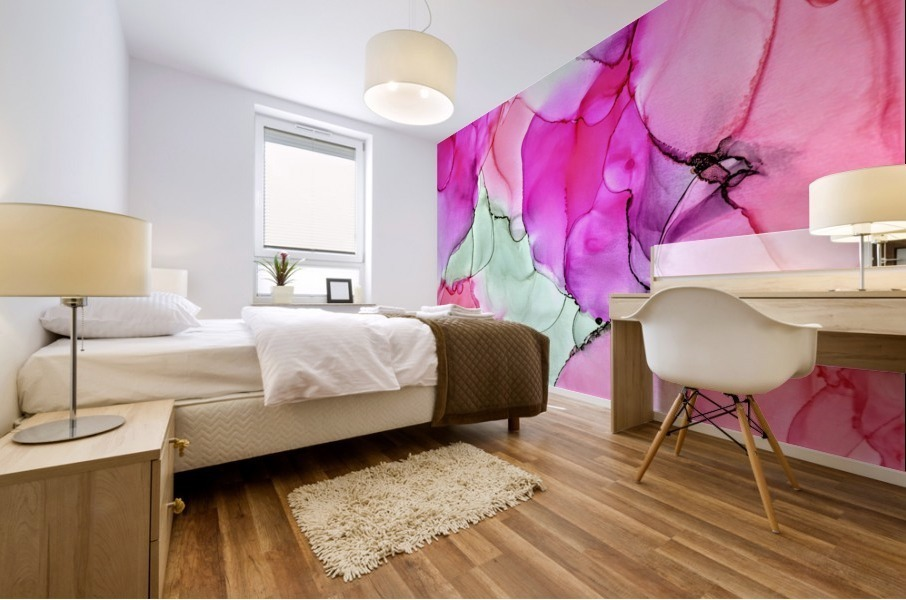 Happiness in Pink Mural print