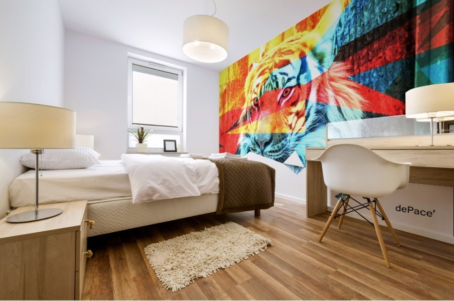 TIGER IN ABSTRACT FORM Mural print