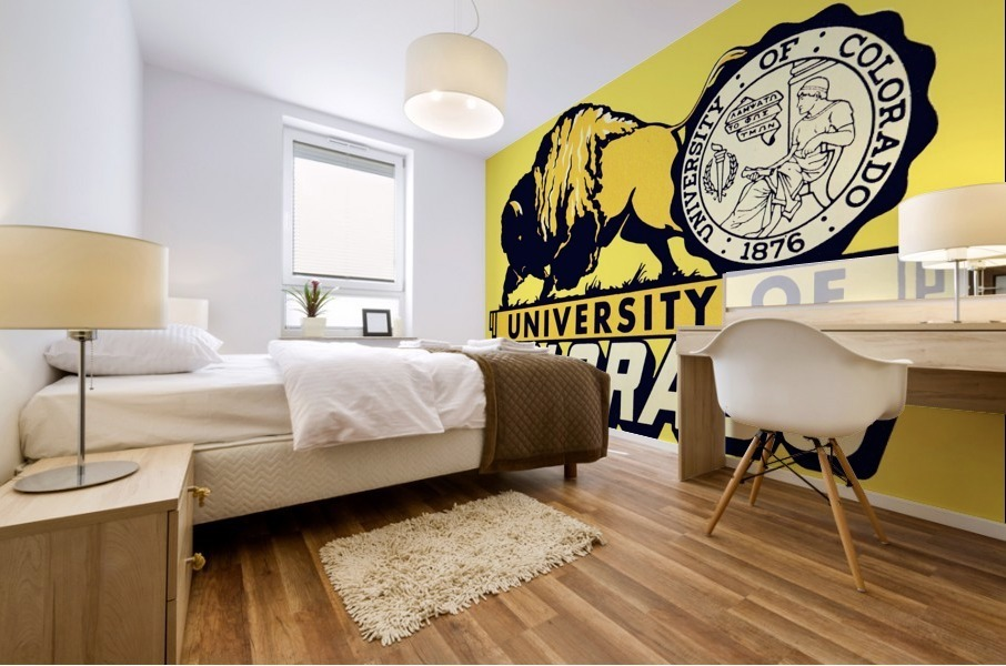 1950s vintage college art university of colorado buffaloes boulder Mural print