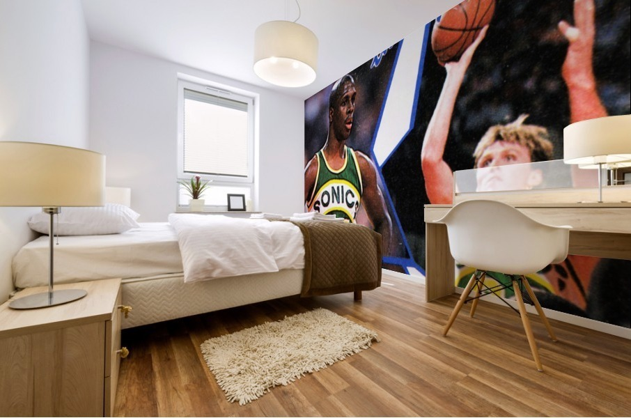 1987 seattle supersonics nba all star game poster Mural print
