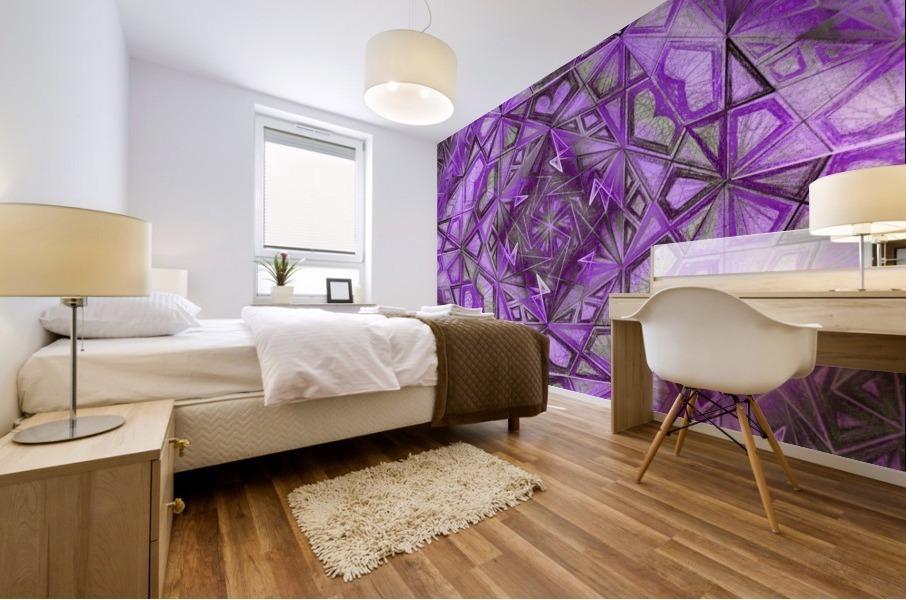 Purple Fractal Kaleidoscope Handdrawing Mural print