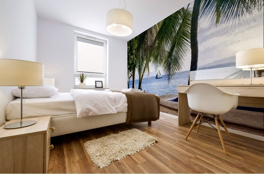 Sailboat And Palms Mural print
