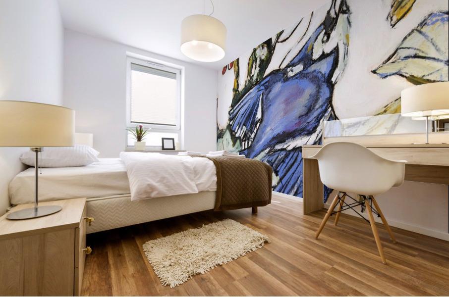 Louisiana Blue Jay Study on Wood Mural print