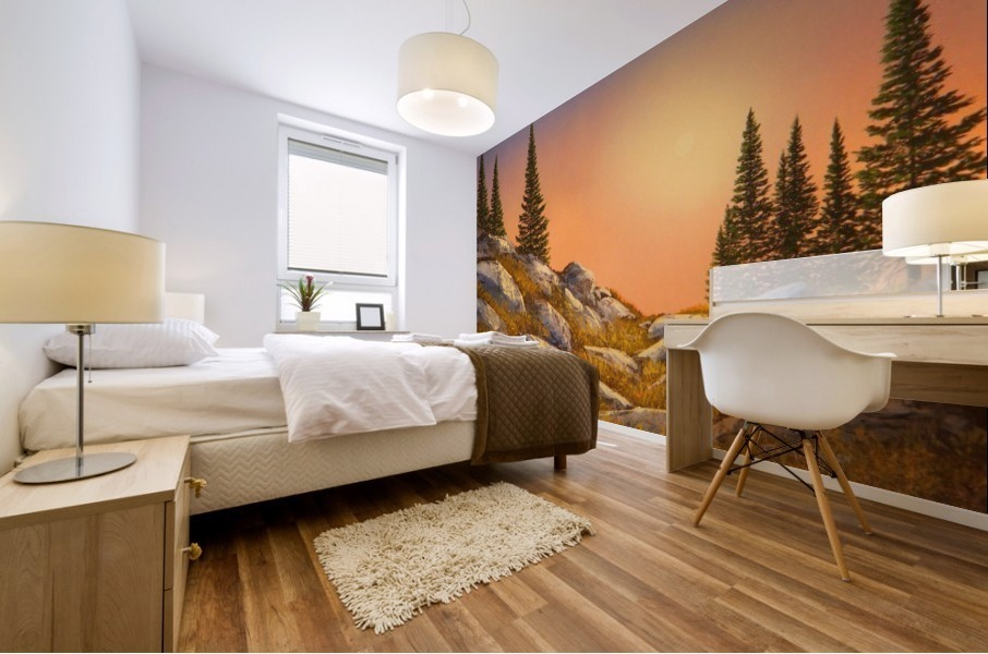Sunset Spruces Mural print