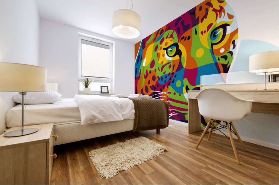 The Colorful Leopard Mural print