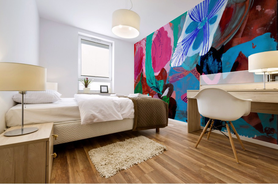 Green Feather Mural print
