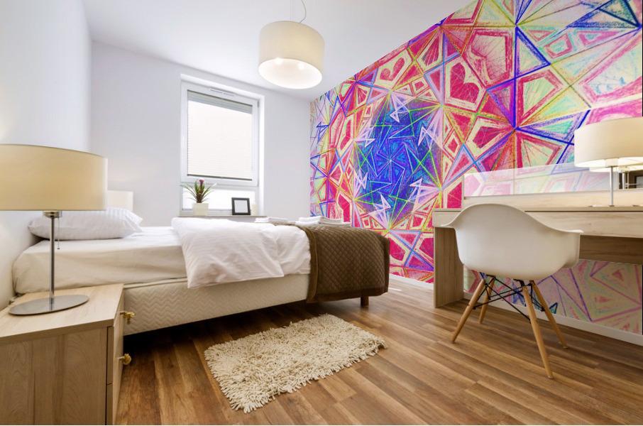 Psychedelic Art Hexagon Mandala Handdrawing Mural print
