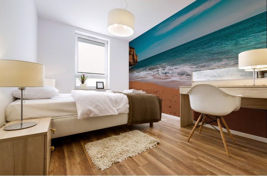 Ocean Beach in Teal and Orange Mural print