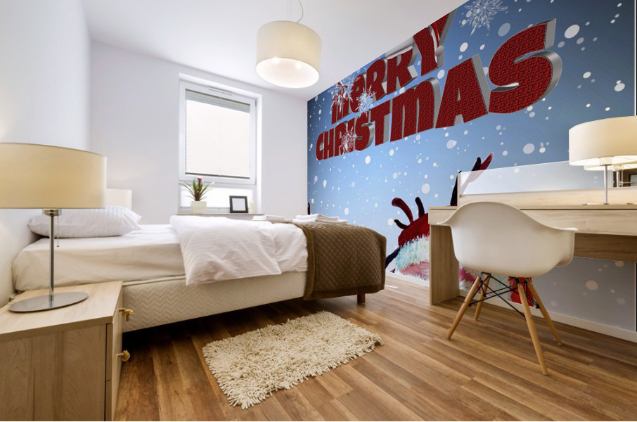 Santa Clause and Rudolph in Magical Winter night Mural print