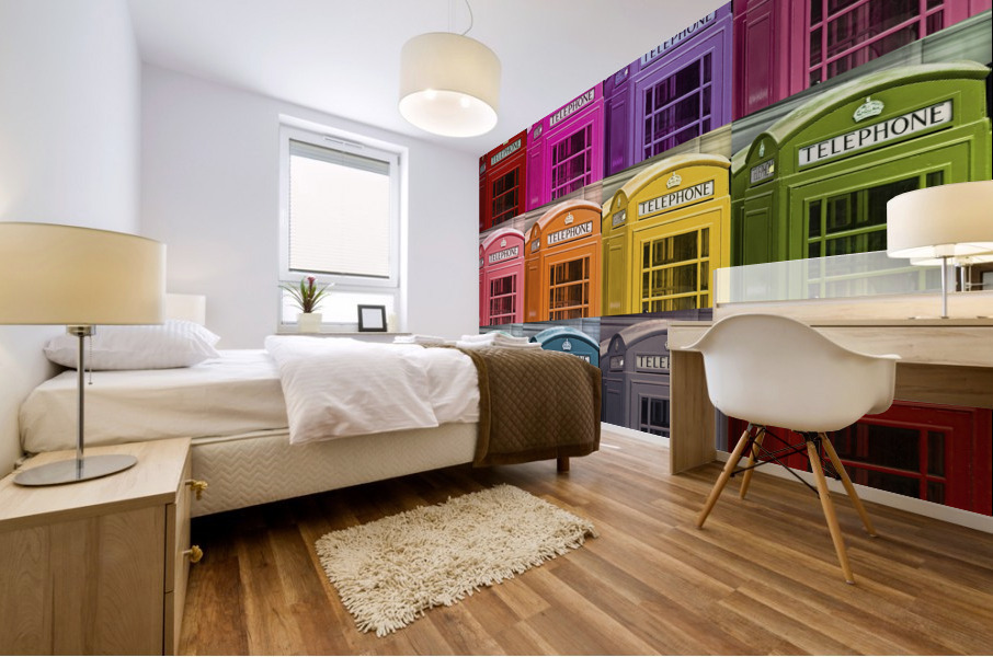 Multicoloured telephone boxes Mural print