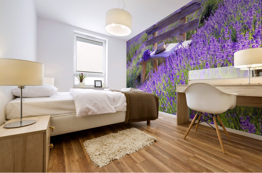 Bench in Lavender field Mural print