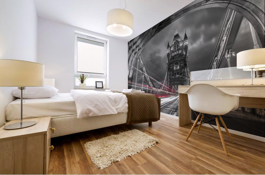 Tower bridge with strip lights, London, UK Mural print