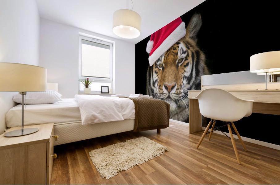 Tiger with Santa hat Mural print