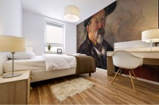 Self Portrait with Beret by Cezanne Mural print