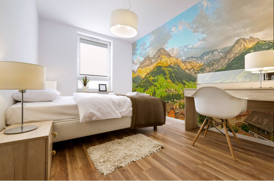 Golden Rays Across The Bernese Highlands in Switzerland Panorama with Engstligen Falls Mural print