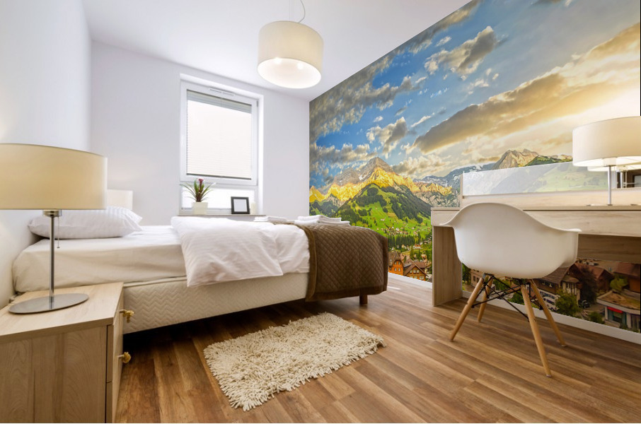 Golden Rays Across The Swiss Alps with Waterfalls Mural print