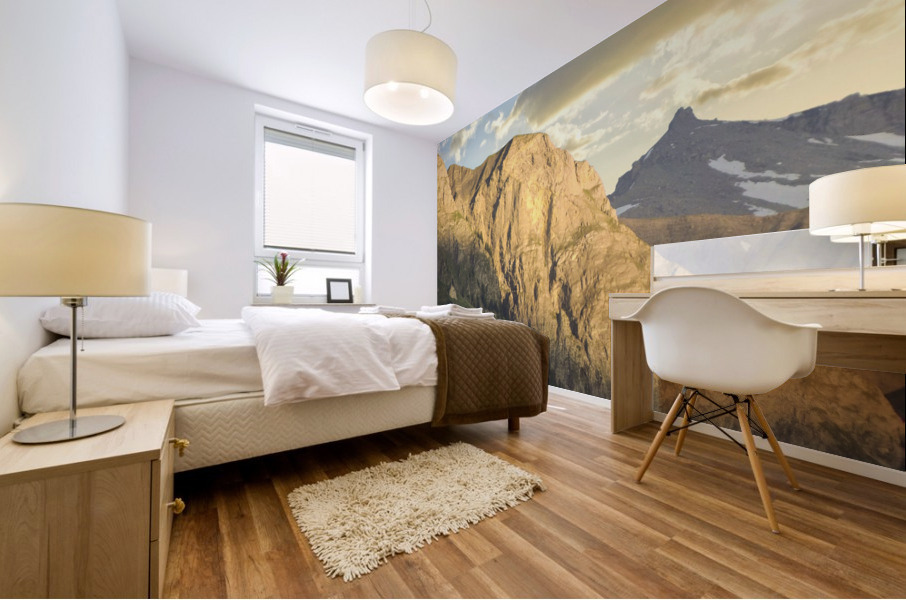 Golden Rays of the Sun on the Swiss Alps in the Bernese Highlands Mural print